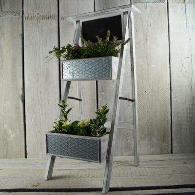 Whitewashed Plant Stand