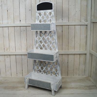 Whitewashed Tiered Plant Stand
