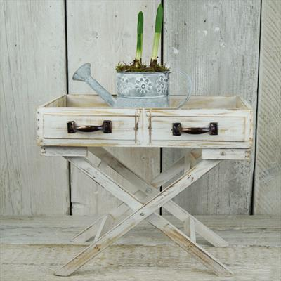 Small Whitewashed Butler's Tray Table