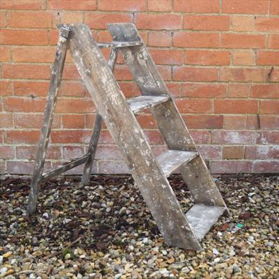Aged Stepladder Display Stand