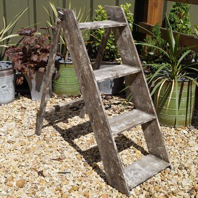Greywashed Step Ladder Display Stand