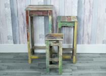 Set of 3 display tables with distressed paint effect