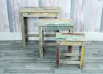 Set of 3 rectangular display tables with distressed paint effect
