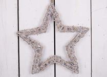 Grey washed hanging willow wrapped star - Small