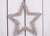 Grey washed hanging willow wrapped star - Large