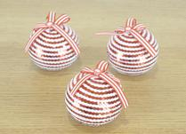 Red and White Striped Baubles