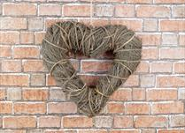 Brown Straw Heart Wreath