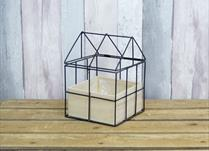 Wooden planter with metal frame