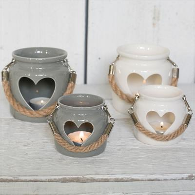 Grey and White Porcelain Tealight Holders