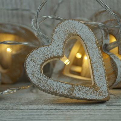 White and Gold LED Heart Lights
