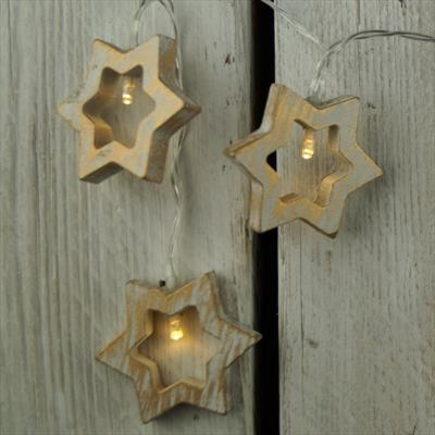 White Wooden Stars with LED Lights