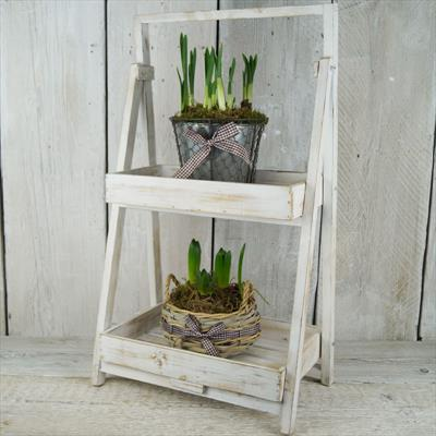 Whitewashed Wooden Display Stand