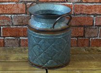 Grey Metal Churn with Diamond Shape Embossment