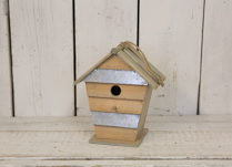 Birdhouse with both wood and Metal aspects
