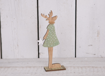 Tall Wooden Stand with Reindeer in a green dress
