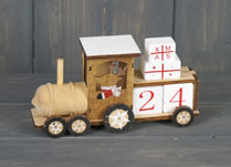 Wooden Train Advent Calendar with Reindeer Driver