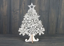 Large White Star-Topped Wooden Christmas Tree