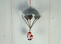 Hanging Santa with Blue Parachute