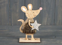Wooden Mouse on stand with Star