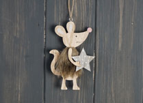Wooden Hanging Mouse holding Star