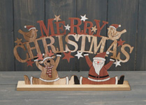 Merry Christmas Wooden Decoration With Santa and Reindeer detail page