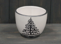 White Ceramic Pot with Christmas Tree Top