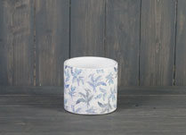 Small Blue Leaf Ceramic Pot