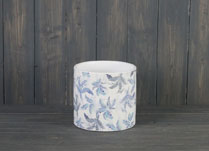 Large Blue Leaf Ceramic Pot