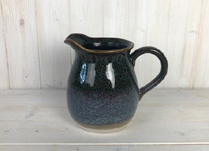 Reactive Blue Glazed Ceramic Jug