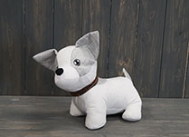 White and Grey Dog Doorstop with collar detail page