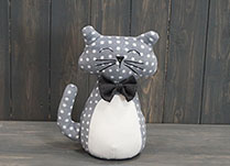 Grey Spotty Cat Doorstop with Bow Tie  detail page