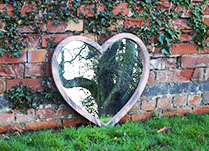 Large Wooden Heart Mirror H65cm