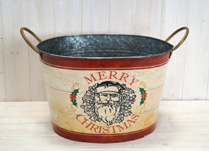 Large Metal Bucket with Christmas Design
