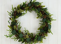 Natural Green Round Wreath with Mini Cone, Leaf and Moss