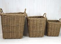 Set of Three Heavy Duty Baskets with Rop Handle  detail page