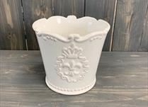 Large White Ceramic Pot TD14.5 Fleur De Lis detail page