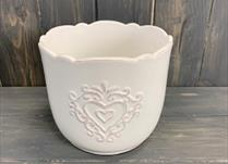 Large White Ceramic Pot TD14.5cm Heart Design detail page