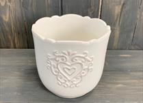 Small White Ceramic Pot TD11.5cm Heart Design detail page