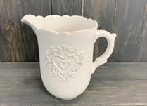 White Ceramic Jug H19cm Heart Design detail page