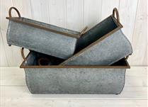 Set of 3 Large Rectangular Metal Trough Planter