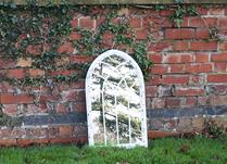 Small White Vintage Arched Mirror H73cm