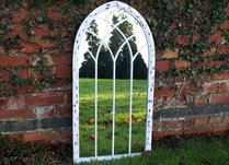Large White Vintage Arched Mirror H100cm