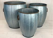 Set of 3 Large Metal Bulbous Planters