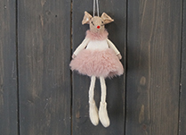 Pink Fabric Hanging Mouse with Skirt (15cm)