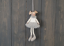 Grey Fabric Hanging Mouse with Skirt (15cm)