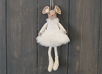 White Fabric Hanging Mouse with Skirt (15cm)