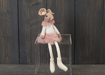 Pink Fabric Mouse with Skirt (15cm)