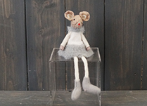 Grey Fabric Mouse with Skirt (15cm)