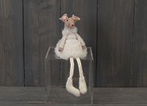 White Fabric Mouse with Skirt (15cm)