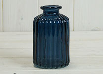Blue Ribbed Glass Bottle (H10cm) detail page